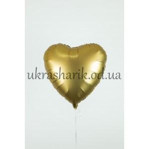 Фольгированное сердечко золото сатин