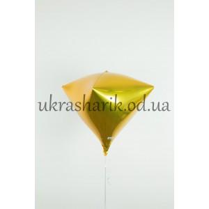 Фольгированный шарик Алмаз золотой