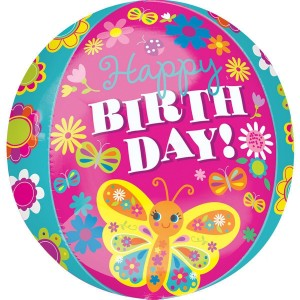Фольгированный шарик Сфера С Днем рождения Яркие бабочки