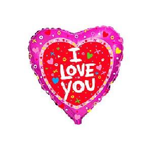 """Фольгированный шар 18"""" (45см) с рисунком Разноцветные сердца"""