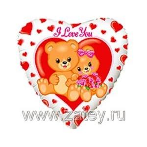 """Фольгированный шар 18"""" (45см) с рисунком Медвежата с цветами"""