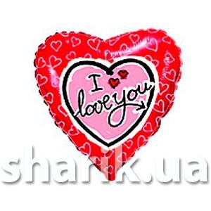 """Фольгированный шар 18"""" (45см) с рисунком Сердце розовое на красном"""