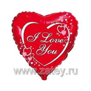 """Фольгированный шар 18"""" (45см) с рисунком Сердце на красном"""