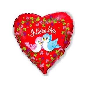 """Фольгированный шар 18"""" (45см) с рисунком Влюбленные птички"""