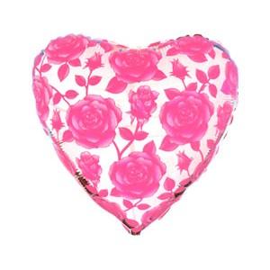 """Фольгированный шар 18"""" (45см) с рисунком Розовые розы"""