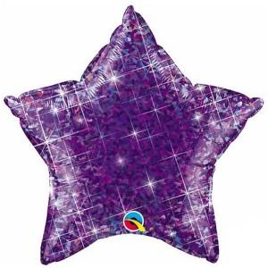 Фольгированная звезда голографическая фиолетовая