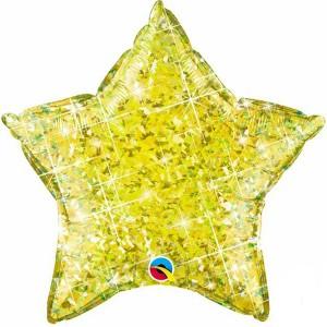 Фольгированная звезда голографическая желтая