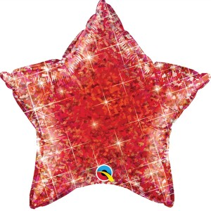 Фольгированная звезда голографическая красная