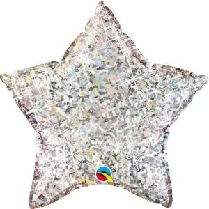 Фольгированная звезда голографическая серебро