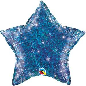 Фольгированная звезда голографическая синяя