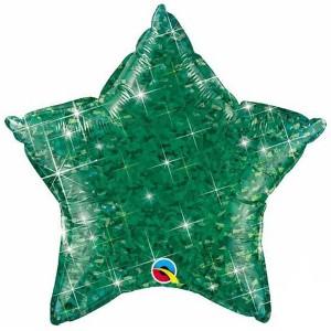 Фольгированная звезда голографическая зеленая