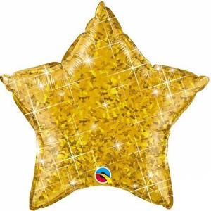 Фольгированная звезда голографическая золотая