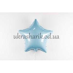 Фольгированная звезда голубая пастель