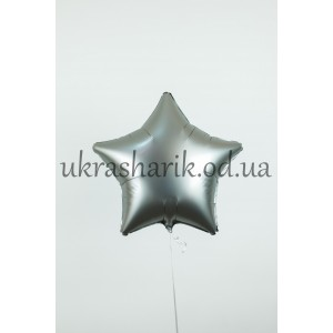 Фольгированная звезда белое золото сатин