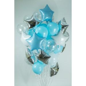 Букет шаров на каждый день №100 в бело-голубых тонах