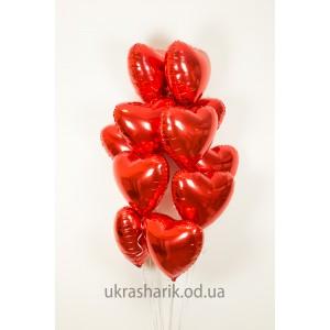 """Шарики для любимых №2 - 11 фольгированных сердец размером 18"""" (45 см)"""