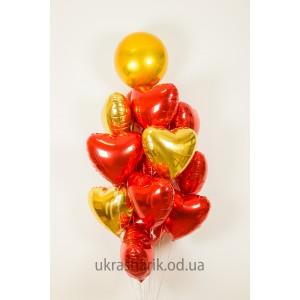 Шарики для любимых №5 - 14 фольгированных сердец и сфера