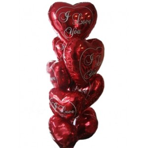 """Шарики для любимых №6 - 9 фольгированных сердец с рисунком """"I love you"""""""