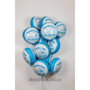 Шарики для встречи из роддома №8 - 15 шариков Сыночек