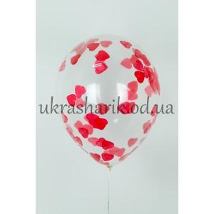 """Прозрачный шарик 32 см (12"""") с конфетти красные сердечки"""