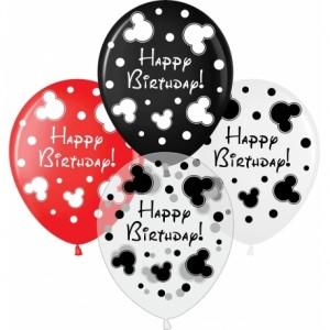"""Шар наполненный гелием с рисунком """"Happy Birthday"""" Микки стиль"""