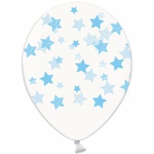 """Шар наполненный гелием с рисунком """"Голубые звезды на прозрачном"""""""