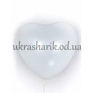 """Шарик сердцечко наполненное гелием белое 15"""" (38 см)"""