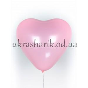 """Шарик сердечко наполненное гелием розовое 15"""" (38 см)"""