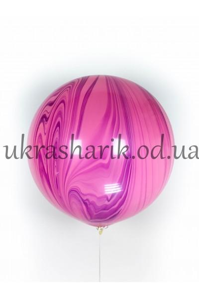 Мраморный шар-гигант цвет малиново-розовый