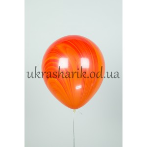 Мраморный шарик цвет красно-оранжевый